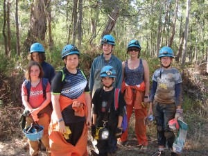 Happy but grubby and exhausted after day 1 in the caves at Mt Eccles